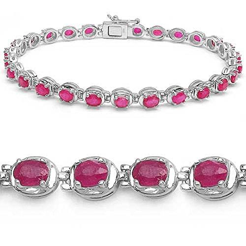 Bijoux Schmidt-Glamorous, bracelet rubis élégante 6,75 carats - Argent 925 - Rhodium - 27 Gems