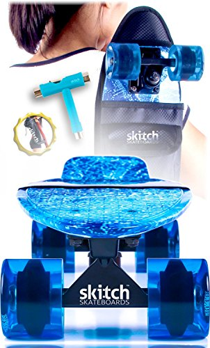 Blue Penny Board Skateboard For Boys - Skitch Complete 22 Inch Mini Cruiser Skateboards For Kids Beginners Youth Adults Men with Skateboard Backpack Skate Tool