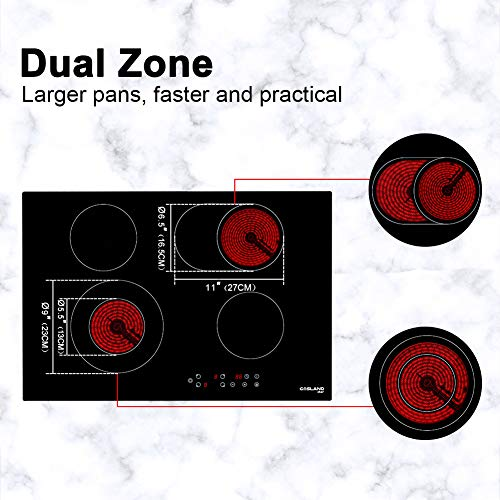 Electric Stove with 4 Burners 220V Vitro Ceramic Surface Radiant Electric Cooktop Gasland chef CH77BF 30 Built-in Electric Stove Kids Safety Lock 9 Heating Level Settings Electric Cooktop