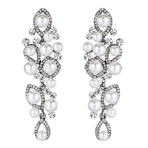 BriLove Vintage Style Simulated Pearl Earrings for Women Marquise Shape Teardrop Hollow Chandelier Dangle Earrings Clear Antique-Silver-Tone