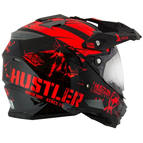 Hustler Hardcore Since 1974 Dual Sport Red And Black Gloss Motorcycle Helmet - X-Large by Hustler (Image #4)
