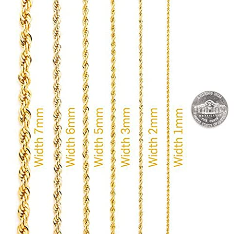 Life Time Warranty,1mm 2mm 3mm 4mm 5mm 7mm Gold Rope Chain,made in USA,30x thicker gold, 24in 30inch (20, yellow-gold (Men Gold Over Silver Chain)