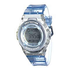 Compact, sleek, and lightweight, the ultra-stylish Casio Watch #BG1302-2 from the Baby-G Collection offers both shock-resistant construction and a head-turning look. With its slender circular dial and light blue resin band, this super-cute ac...