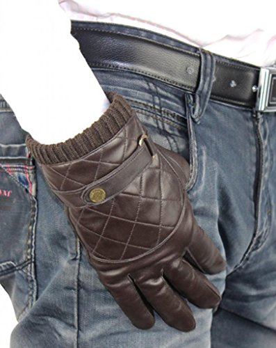 Lined Quilted Gloves (HINY Men's Dark Brown Quilted Fully Lined Thick Slim 5-Finger Winter)