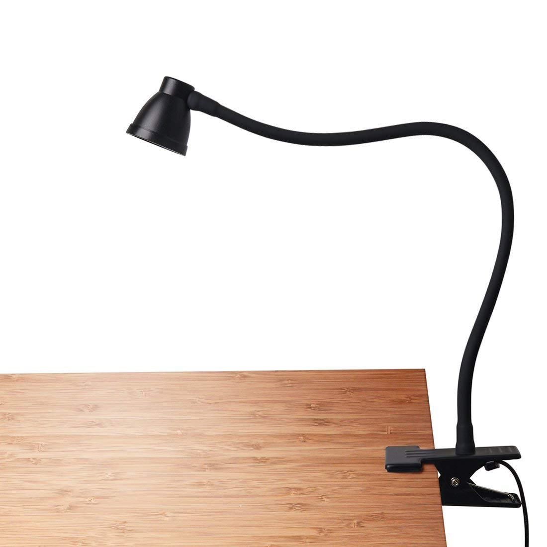 CeSunlight Clamp Desk Lamp, Clip on Reading Light, 3000-6500K Adjustable Color Temperature, 6 Illumination Modes, 10 Led Beads, AC Adapter and USB Cord Included (Black) by CeSunlight