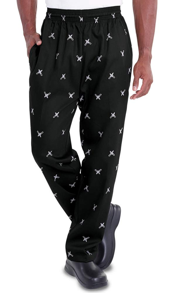 Men's Knives Print Chef Pant (XS-3X) (Small) by ChefUniforms.com