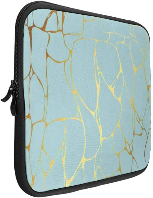 Blue Marble Gold Line Laptop Sleeve Case 15 15.6 Inch Briefcase Cover Protective Notebook Laptop Bag
