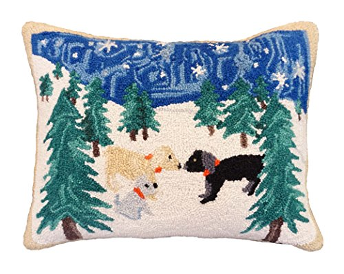 Handmade 100% Wool Chocolate Labrador Black Lab Hooked Snow Evening Dogs Holiday Merry Christmas Decorative Throw Pillow. 16