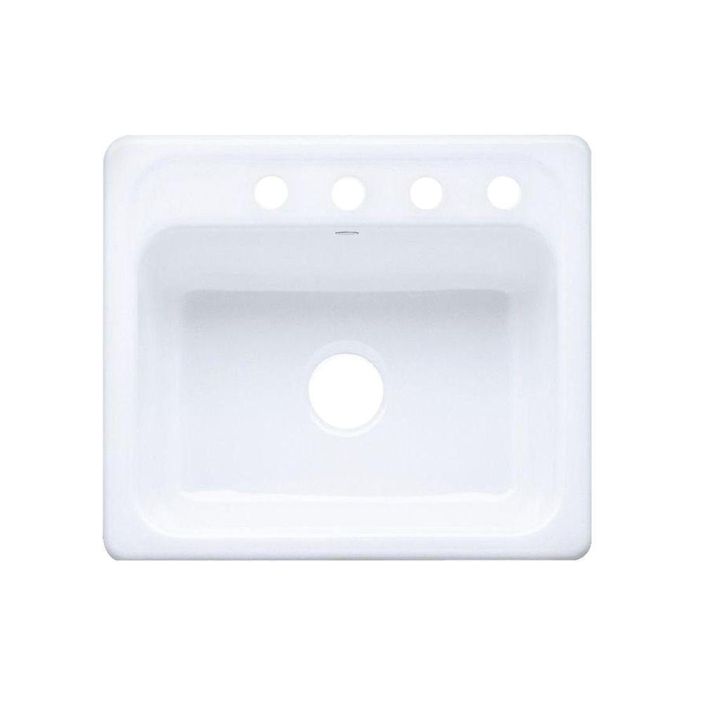 KOHLER K-5964-4-0 Mayfield Self-Rimming Kitchen Sink, White