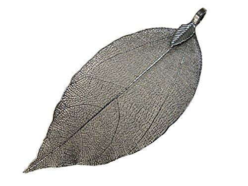 Leaf Pendant - Natural Electroplated Filigree Metal Leaf BEEZZY BEEDZ (Gun Black color)