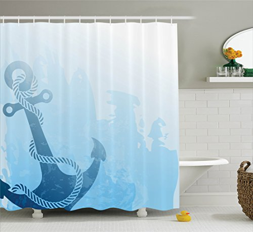 Nautical Decor Shower Curtain Set by Ambesonne, Digital Monochrome Anchor Illustration Deep Down in the Sea Bottom Be Strong and Stable, Bathroom Accessories, 75 Inches Long, Light Blue