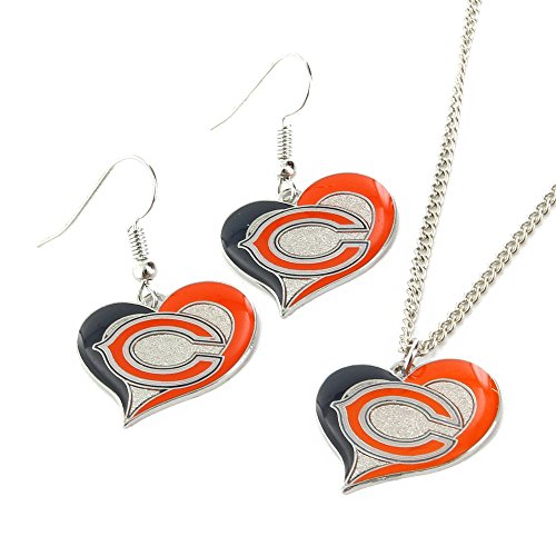 Chicago Bears Jewelry - NFL Chicago Bears Swirl Heart Earrings & Pendant Set