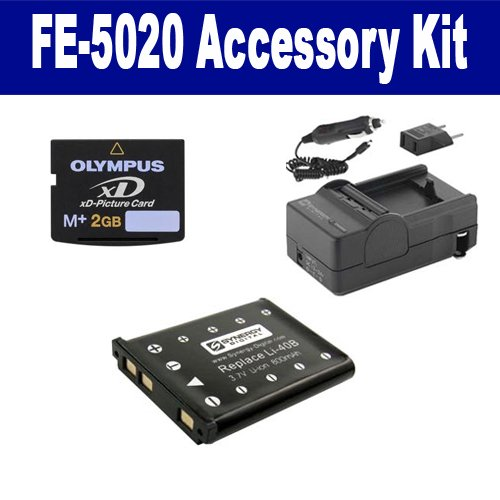 Olympus FE-5020 Digital Camera Accessory Kit includes: SDLI40B Battery, SDM-141 Charger, XD2GB Memory Card