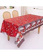 Moosunsa Tafelkleed voor Kerstmis, rechthoekig, geborduurd kersttafelkleed, kerstboom met GNOME print, oliebestendig, lekvrij, decoratie voor thuis