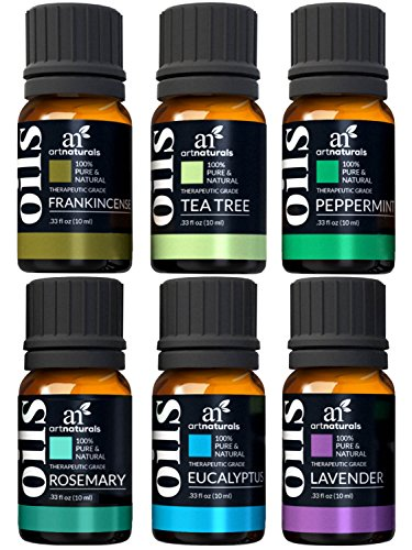 ArtNaturals Aromatherapy Top 6 Essential Oils 100% Pure of The Highest Quality Peppermint, Tee Tree, Rosemary, Lavender, Eucalyptus and Frankincense Therapeutic Grade
