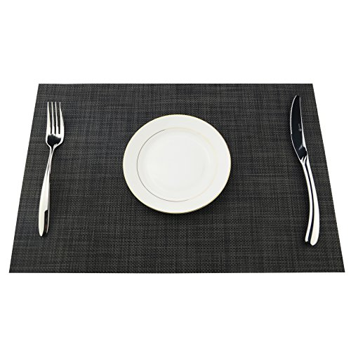 Placemats Heat-resistant Dining Table Place mats Anti-skid Washable PVC Kitchen Table Mats By KOKAKO ,Set of 4 (Dark Gray) by KOKAKO (Image #5)