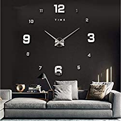 GuoEY Modern DIY Large Wall Clock Big Watch Decal 11D Stickers Decoration for Living Room Bedroom Sliver