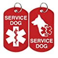 2 Service Dog ID Tags - Includes up to 4 Lines of Customized Text on Back. by GoTags