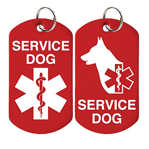 2 Service Dog ID Tags - Includes up to 4 Lines of Customized Text on Back.
