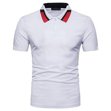 Camisas Hombre Verano Color Block Solapa Manga Corta Ropa Polo ...