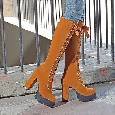 inverno in donna thigh novità scarpa Desy amp; rotonda nozze Heel stivali lacci stivali da Chunky stivali yellow per moda toe di sera high festa EtwfwqI
