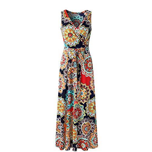 LYN Star ◈ Women's Summer V Neck Floral Maxi Dress Casual Long Dresses Bohemian Printed Wrap Bodice Crossover Dress Navy