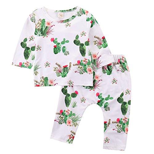 Toddler Cactus Print Clothes Long Pants Baby Boy Girl Llama Outfits Set Long Sleeve T-Shirt Top (Cactus, 70/0-6M)