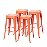 High Backless Indoor-Outdoor Barstool with Square Seat, Metal Counter Stools, Pack of 4 (30'', Orange)