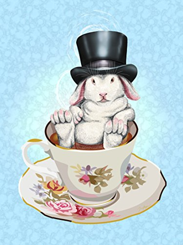Rabbit Hole Funny Bunny in Teacup w/ Top Hat 18x24 - Vinyl Print Poster