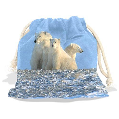 WHBAG Velvet Drawstring Gift Bag,Animal Family Polar Bear,Wrap Present Pouches Favor for (Navy Stripe Favor Cards)