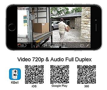 Videocitofono connesso KONX KW01/Gen2 con rilevatore di movimento Wi-Fi Full Duplex 720p