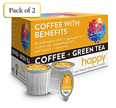 """ULIVjava MARTHA STEWART """"HAPPY"""" Fair Trade Organic Coffee K-Cups With Green Tea, Minerals & Herbs, 10-Count (Pack of 2)"""
