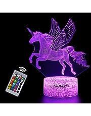 Enhörningsgåva enhörning nattlampa för barn, 3D-lampa 7 färger ändras med fjärrkontroll semester och födelsedagspresenter idéer för barn (enhörning2)