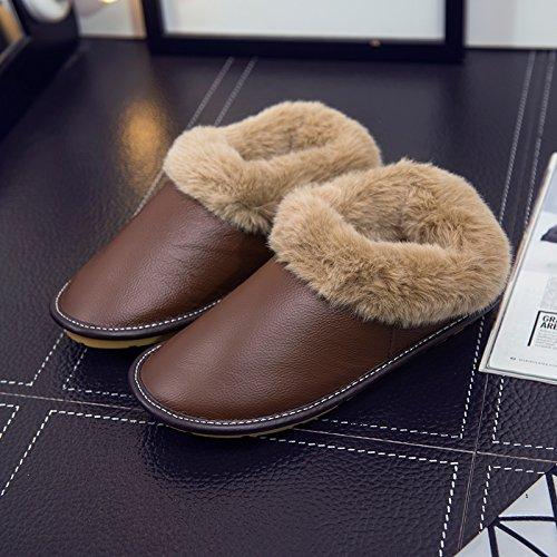 Fankou autunno e inverno in pelle waterproof pantofole gli uomini e le donne le coppie che vivono in casa con il pacchetto biancheria intima spesso caldo cotone scarpe pantofole, 30 adatto (43-44 metr
