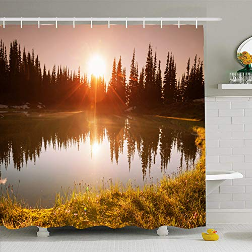 (Ahawoso Shower Curtain 60x72 Inches View Spring Sunset Scene On Lake Nature North Parks Alaska Adventure Clouds Dawn Dusk Design Waterproof Polyester Fabric Bathroom Curtains Set with Hooks )