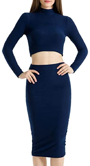 f08a0b56f8c FLCH+YIGE Womens Long Sleeve Crop Top High Waist Midi Bodycon Skirt 2 Piece  Set at Amazon Women's Clothing store: