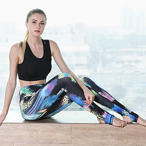 JIALELE Pantalon Yoga Plumas Yoga Fitness Negro Pantalón ...
