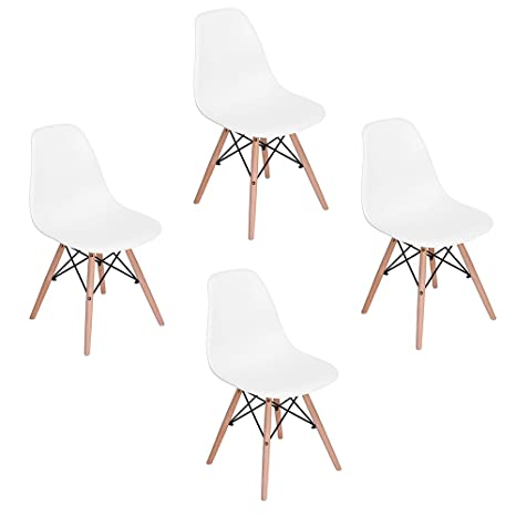 Outstanding Eleranbe Set Of 4 Eames Dsw Style Side 18 Height Armless Accent Chairs With Eiffel Natural Beech Wood Base Legs For Dining Waiting Room Bedroom Alphanode Cool Chair Designs And Ideas Alphanodeonline
