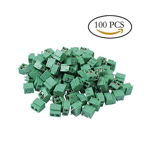 Teenitor Top Quality 100Pcs 2 Pole 5mm Pitch PCB Mount Screw Terminal Block 8A (5 Screw Terminals)