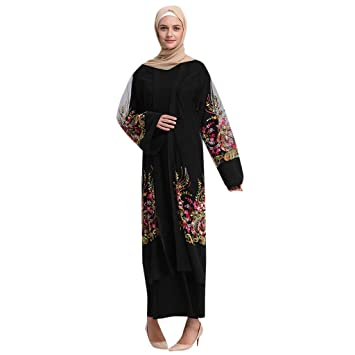 7a4eb6f959aa0 Amazon.com: Clearance!Muslim Women Loose Long Robe Embroidered Print ...