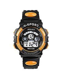 GOTD LED Sports Digital Watch for Children Girls Boys (Orange)