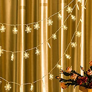 20 ft/ 40 LED Christmas Snowflake String Light LED Hanging Snowflake Fairy String Lights for Christmas Outdoor Indoor Supplies