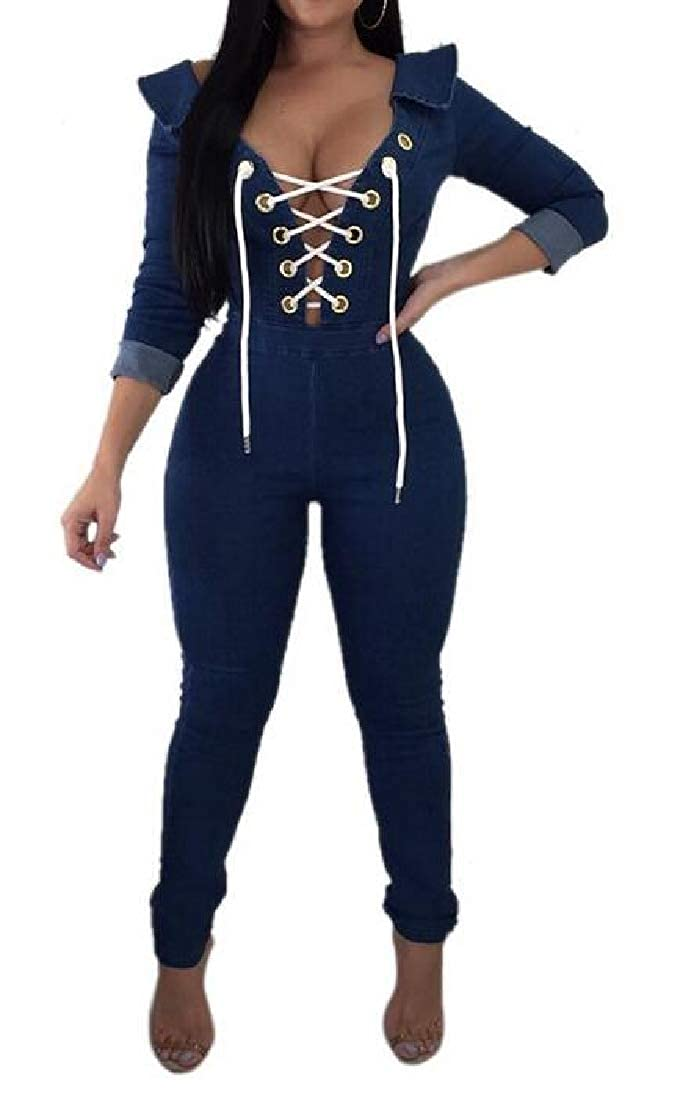 Jotebriyo Womens Jeans V Neck Lace Up Classic Long Sleeve Bodycon Long Rompers