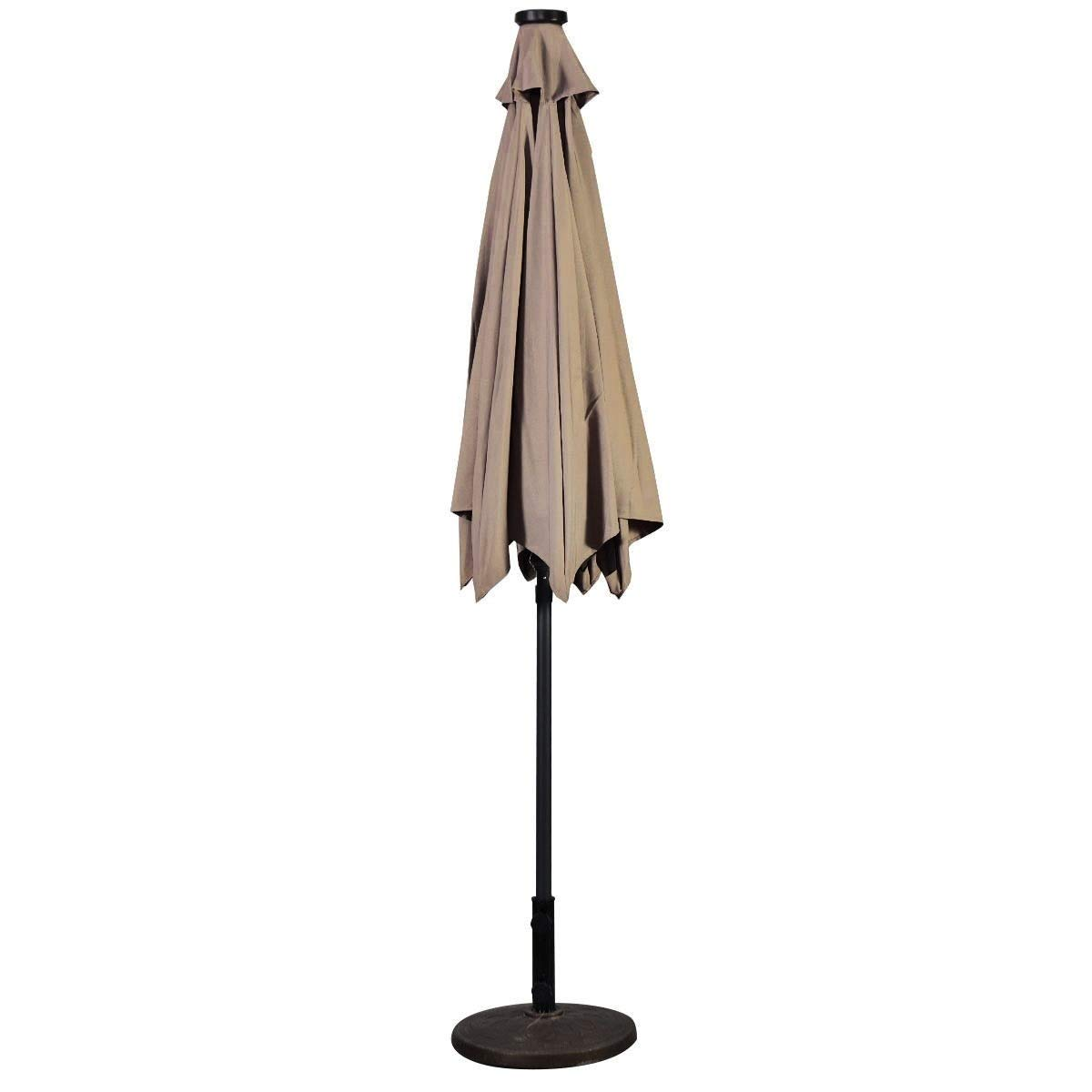 Lucky-gift - Beige 9 ft Patio LED Solar Umbrella with Crank - Outdoor Umbrella Cover Uv Protection Tablecloth - Outdoor Umbrella with Led Lights - Umbrella Solar Light Lighting Crank Hand Uv by Lucky-gift
