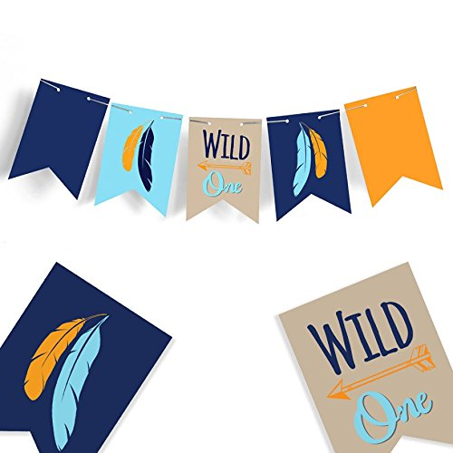Wild one Banner - ONE Banner - Highchair Banner - Feather Banner - Tribal Baby shower - Arrow Decor - Nursery Decor - Rustic Banner - Wild One Birthday - (Boston High Chair)