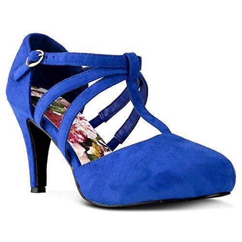 -22 Women's Vegan D'Orsay Mary Jane T-Strap Mid Heel Dress Platform Pumps Shoes Royal Blue (8) ()