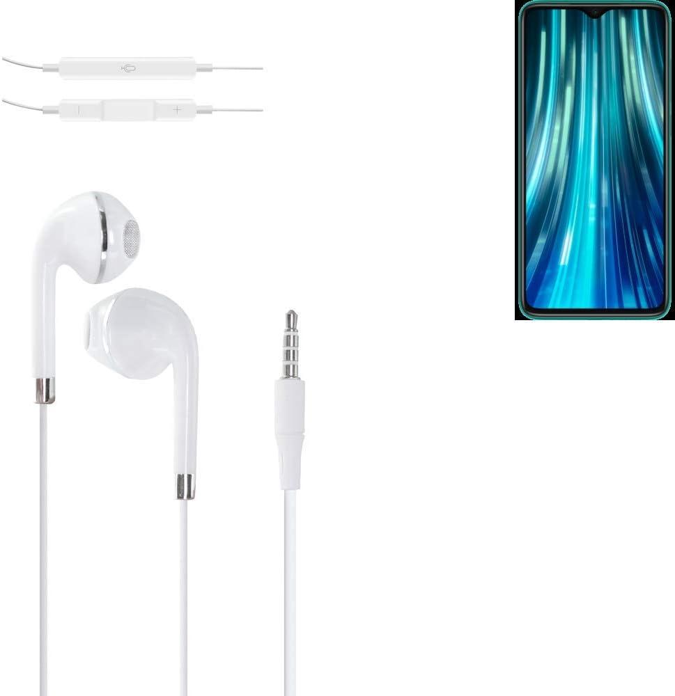 K-S-Trade® Auriculares Headphone Compatible con Xiaomi Redmi Note 8 Pro con Micrófono Y Control De Volumen Blanco Jack De 3.5 Mm Tapones para Los Oídos Headset Espárragos Headphone Estéreo