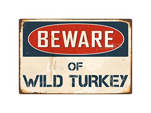 """Beware Of Wild Turkey 8"""" x 12"""" Vintage Aluminum Retro Metal Sign VS444"""