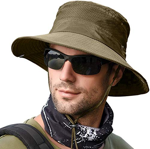 LCZTN Boonie Sun Hat for Men & Womens Wide Brim Bucket Hat with UV Protection UPF 50+ Outdoor Military Cap for Fishing,Hiking,Hunting,Safari & Gardening (Mesh Olive)