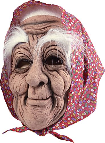 Old Woman + Headscarf - Old Lady Mask With Scarf